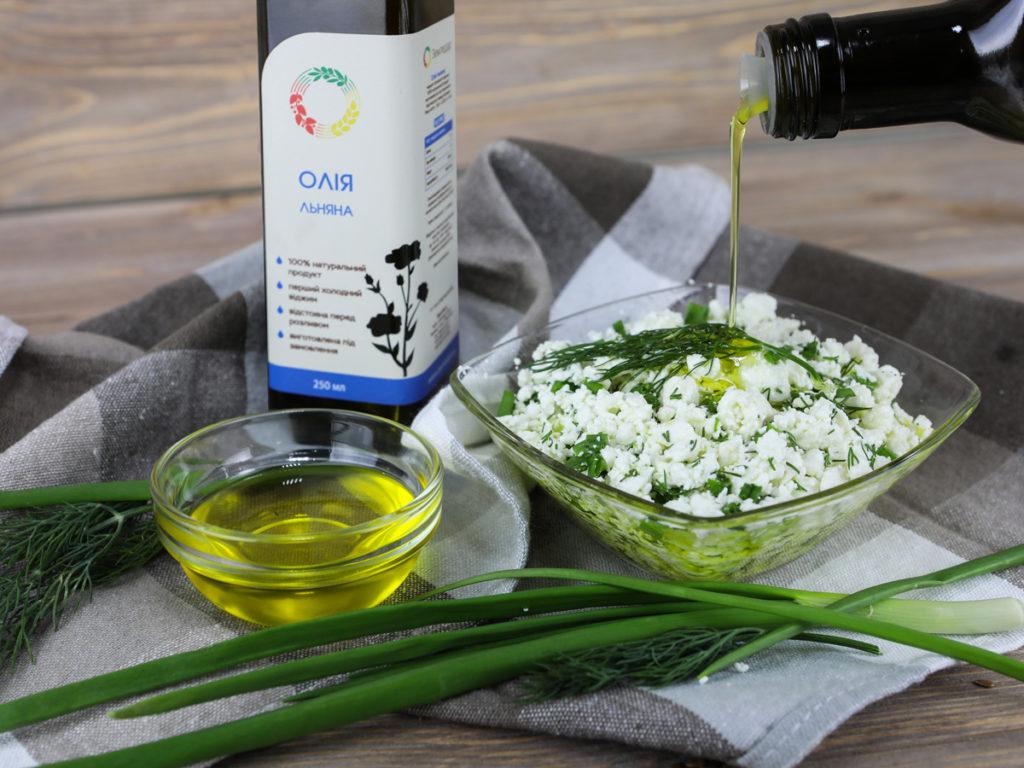 добавление льняного масла в творог