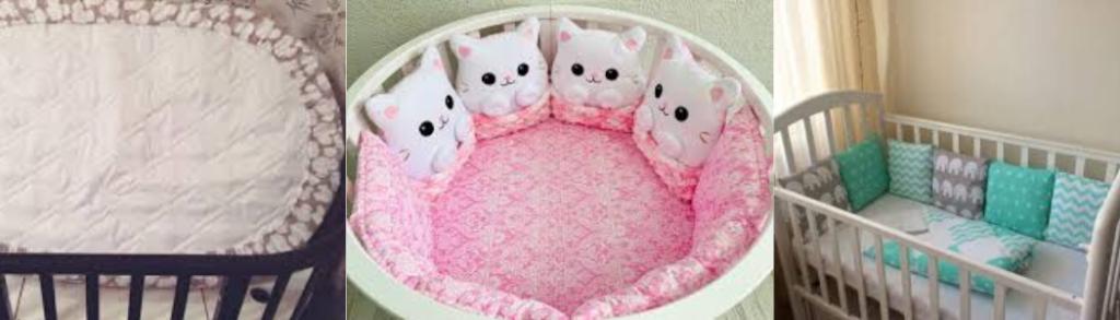 Разные формы натяжной простыни для детской кроватки.
