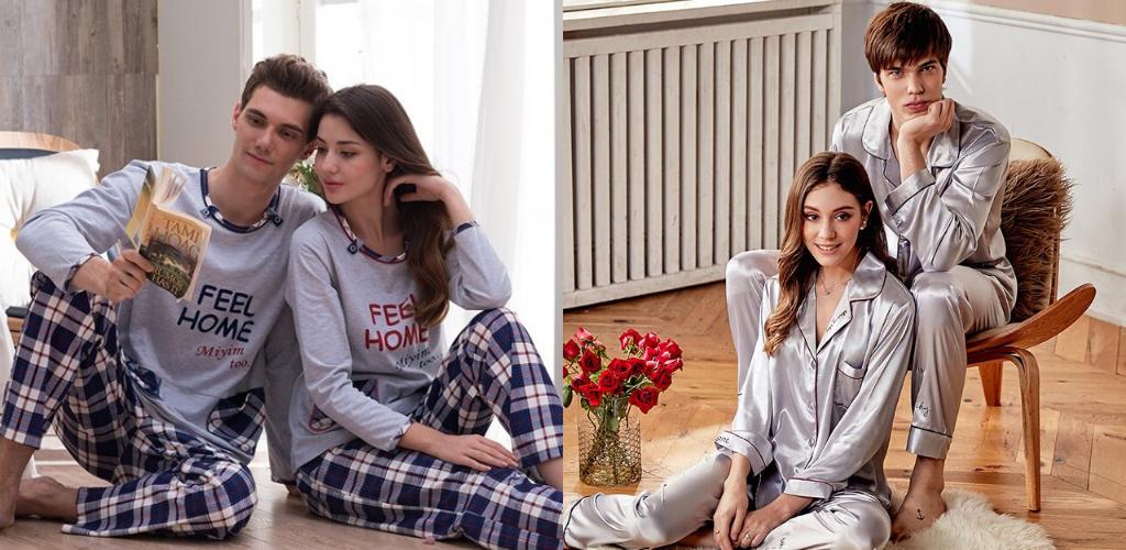 Молодые пары в пижамах