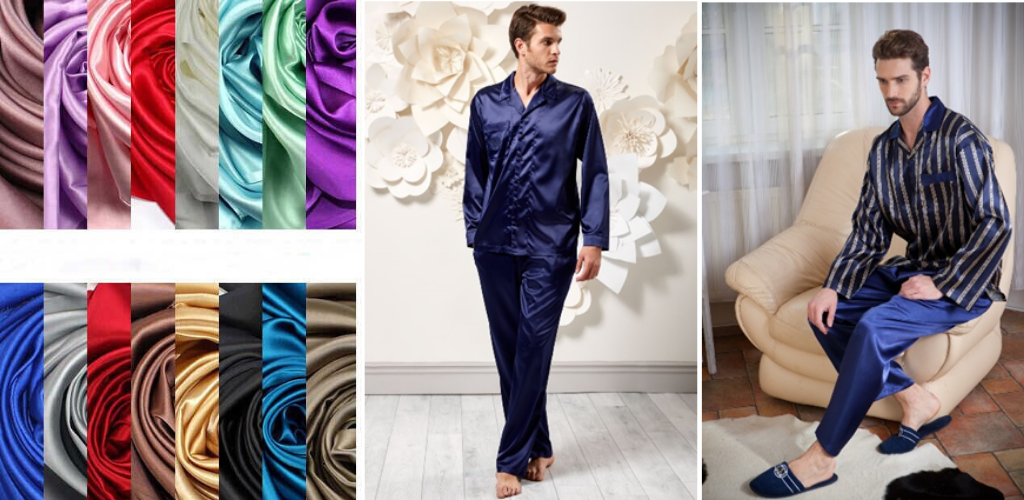 Разноцветная ткань и мужчины в пижамах