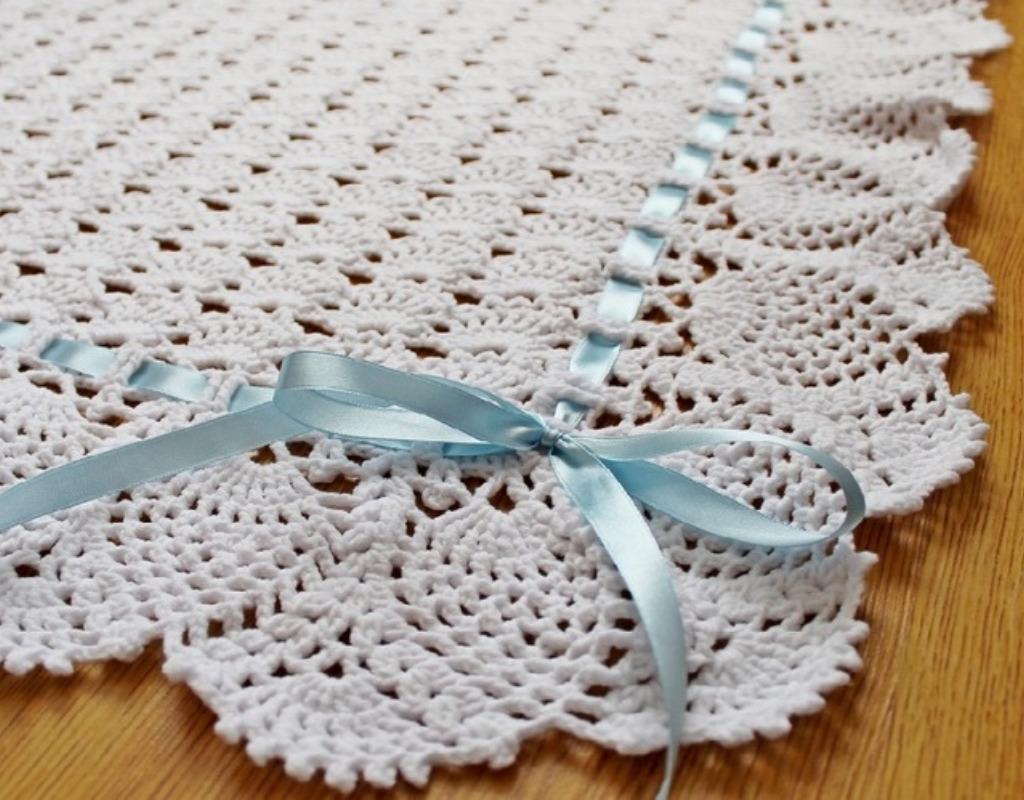 Ажурное одеяло крючком